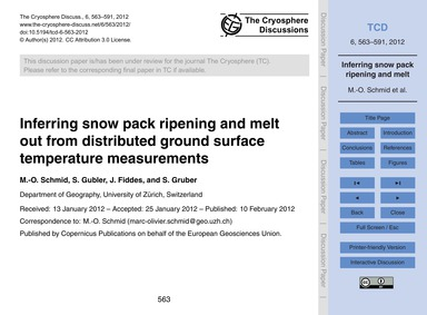 Inferring Snow Pack Ripening and Melt Ou... by Schmid, M.-o.