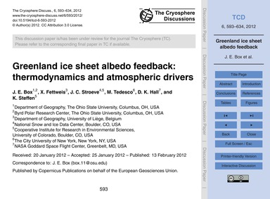 Greenland Ice Sheet Albedo Feedback: The... by Box, J. E.