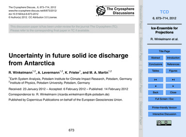 Uncertainty in Future Solid Ice Discharg... by Winkelmann, R.