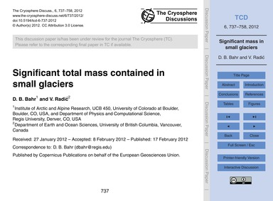 Significant Total Mass Contained in Smal... by Bahr, D. B.