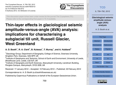 Thin-layer Effects in Glaciological Seis... by Booth, A. D.
