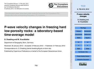 P-wave Velocity Changes in Freezing Hard... by Draebing, D.