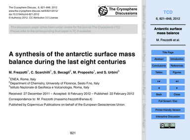 A Synthesis of the Antarctic Surface Mas... by Frezzotti, M.
