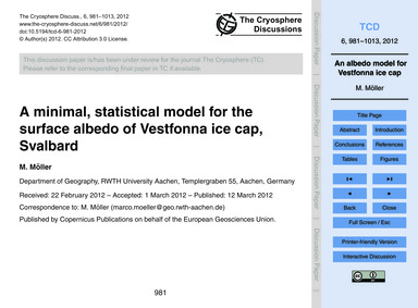 A Minimal, Statistical Model for the Sur... by Möller, M.