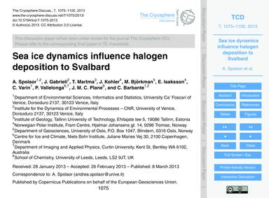 Sea Ice Dynamics Influence Halogen Depos... by Spolaor, A.