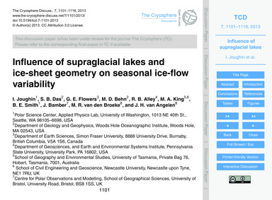 Influence of Supraglacial Lakes and Ice-... by Joughin, I.