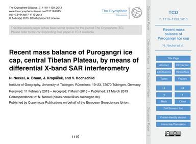 Recent Mass Balance of Purogangri Ice Ca... by Neckel, N.
