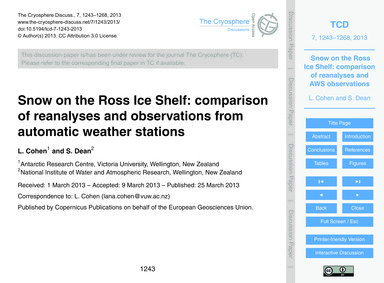 Snow on the Ross Ice Shelf: Comparison o... by Cohen, L.