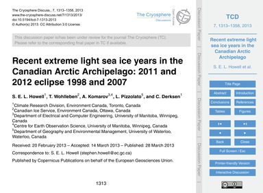 Recent Extreme Light Sea Ice Years in th... by Howell, S. E. L.