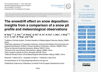 The Snowdrift Effect on Snow Deposition:... by Ding, M.