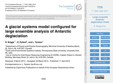 A Glacial Systems Model Configured for L... by Briggs, R.