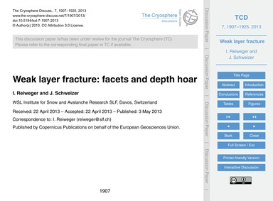 Weak Layer Fracture: Facets and Depth Ho... by Reiweger, I.