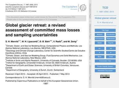 Global Glacier Retreat: a Revised Assess... by Mernild, S. H.