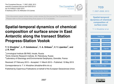 Spatial-temporal Dynamics of Chemical Co... by Khodzher, T. V.