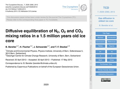 Diffusive Equilibration of N2, O2 and Co... by Bereiter, B.