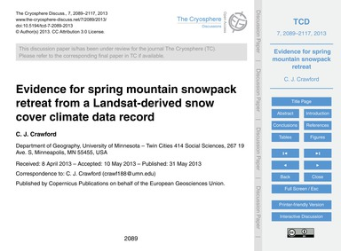 Evidence for Spring Mountain Snowpack Re... by Crawford, C. J.