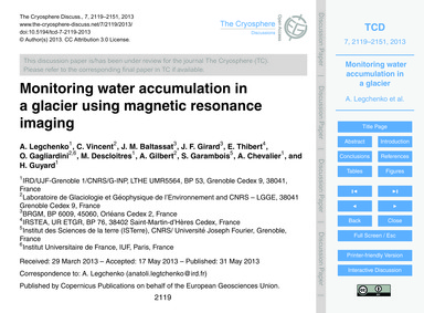 Monitoring Water Accumulation in a Glaci... by Legchenko, A.