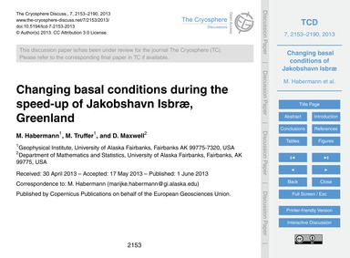 Changing Basal Conditions During the Spe... by Habermann, M.