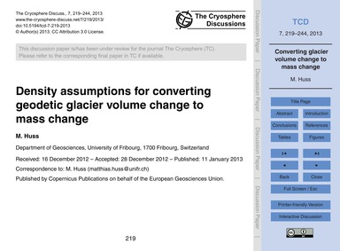 Density Assumptions for Converting Geode... by Huss, M.