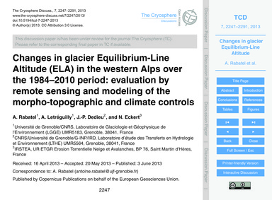 Changes in Glacier Equilibrium-line Alti... by Rabatel, A.