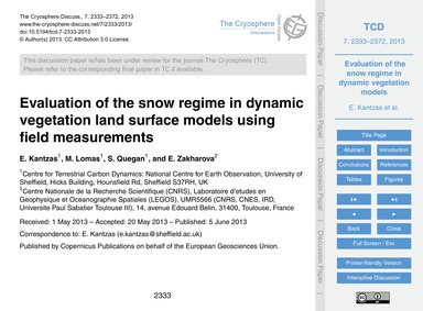 Evaluation of the Snow Regime in Dynamic... by Kantzas, E.