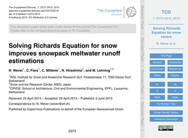 Solving Richards Equation for Snow Impro... by Wever, N.