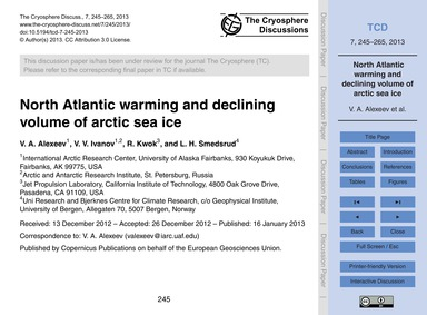 North Atlantic Warming and Declining Vol... by Alexeev, V. A.