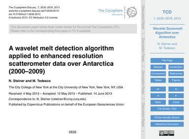 A Wavelet Melt Detection Algorithm Appli... by Steiner, N.