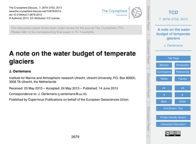 A Note on the Water Budget of Temperate ... by Oerlemans, J.
