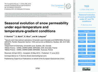 Seasonal Evolution of Snow Permeability ... by Domine, F.