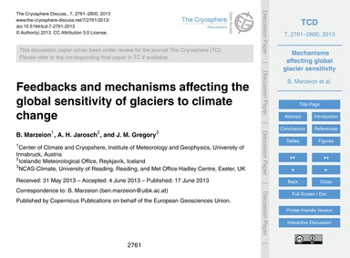 Feedbacks and Mechanisms Affecting the G... by Marzeion, B.