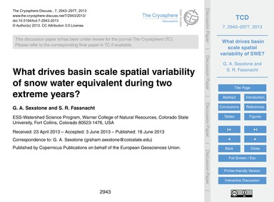 What Drives Basin Scale Spatial Variabil... by Sexstone, G. A.
