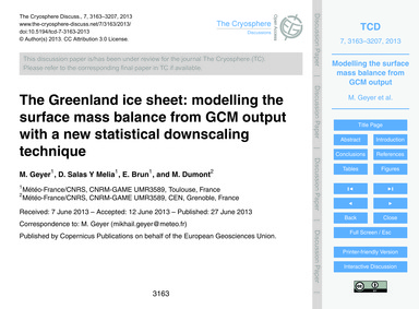The Greenland Ice Sheet: Modelling the S... by Geyer, M.
