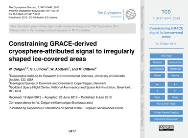 Constraining Grace-derived Cryosphere-at... by Colgan, W.