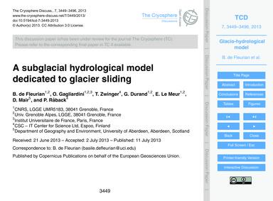A Subglacial Hydrological Model Dedicate... by De Fleurian, B.