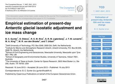 Empirical Estimation of Present-day Anta... by Gunter, B. C.