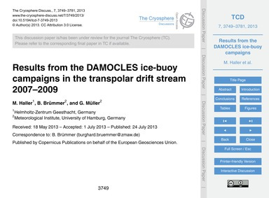 Results from the Damocles Ice-buoy Campa... by Haller, M.