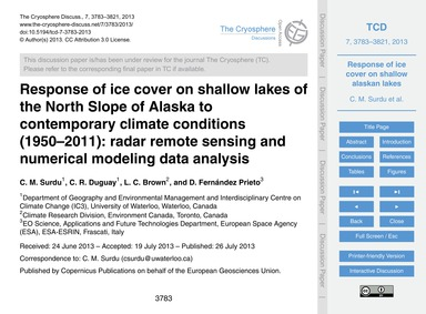 Response of Ice Cover on Shallow Lakes o... by Surdu, C. M.