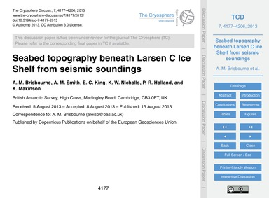 Seabed Topography Beneath Larsen C Ice S... by Brisbourne, A. M.