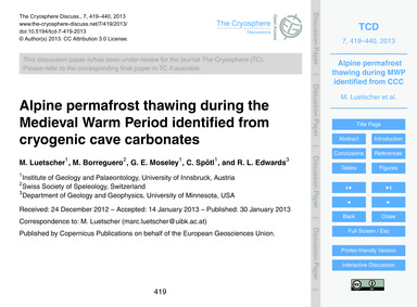 Alpine Permafrost Thawing During the Med... by Luetscher, M.