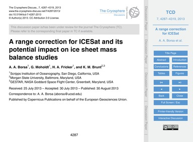 A Range Correction for Icesat and Its Po... by Borsa, A. A.