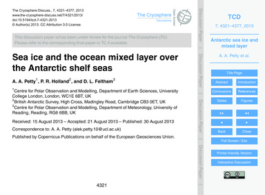 Sea Ice and the Ocean Mixed Layer Over t... by Petty, A. A.