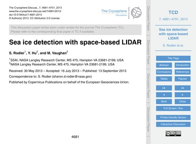Sea Ice Detection with Space-based Lidar... by Rodier, S.