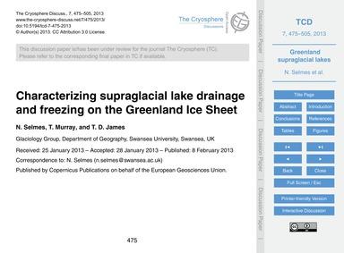 Characterizing Supraglacial Lake Drainag... by Selmes, N.