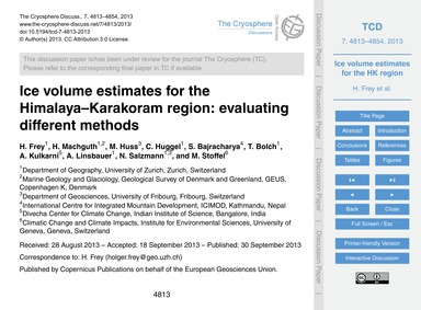 Ice Volume Estimates for the Himalaya–ka... by Frey, H.