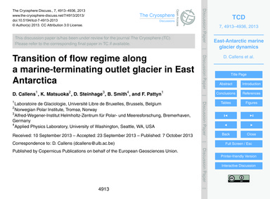 Transition of Flow Regime Along a Marine... by Callens, D.