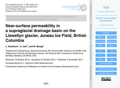 Near-surface Permeability in a Supraglac... by Karlstrom, L.