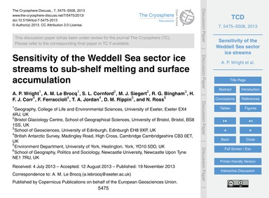 Sensitivity of the Weddell Sea Sector Ic... by Wright, A. P.