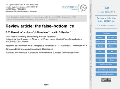 Review Article: the False–bottom Ice : V... by Alexandrov, D. V.