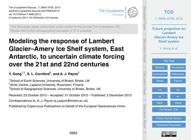 Modeling the Response of Lambert Glacier... by Gong, Y.